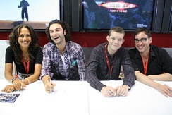 Turner (second from left) with his Being Human castmates Lenora Crichlow and Russell Tovey, and creator Toby Whithouse (right) in 2009
