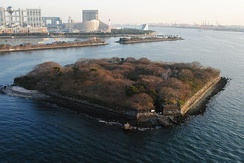 No. 6 Odaiba battery, one of the original Edo-era battery islands. These batteries are defensive structures built to withstand naval intrusions.