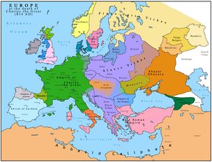 "Europe in 814. Roslagen is located along the coast of the northern tip of the pink area marked ""Swedes and Goths""."