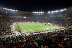 Interior view of the Soccer City in Johannesburg, South Africa, during a match at the 2010 FIFA World Cup