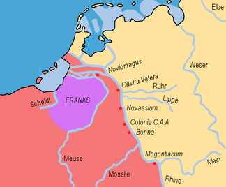 Map 18: Salian settlement in Toxandria in 358 where Julian the Apostate made them dediticii.   Roman Empire  Salian Franks  Germanic tribes east of the Rhine