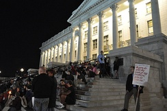 A rally at the Utah State Capitol protests the execution of Ronnie Lee Gardner.