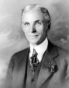 Henry Ford (pictured ca. 1919), founded and led the company, presiding it during two tenures, 1906–1919 and 1943–1945