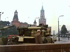 Tanks in Moscow's Red Square during the 1991 coup attempt