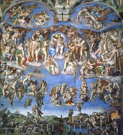 The Last Judgment fresco in the Sistine Chapel by Michelangelo (1534–1541) came under persistent attack in the Counter-Reformation for, among other things, nudity (later painted over for several centuries), not showing Christ seated or bearded, and including the pagan figure of Charon.