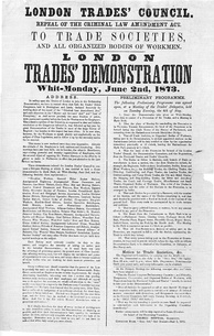 Poster issued by the London Trades Council, advertising a demonstration held on 2 June 1873