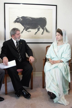 Khaleda Zia, Bangladesh's first woman prime minister, with President Lula of Brazil, during her second term
