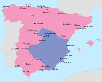 Map showing Spain in February 1939:  Area under Nationalist control  Area under Republican control