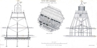Maplin Sands screw-pile lighthouse (drawing published by Alexander Mitchell & Son in 1848)