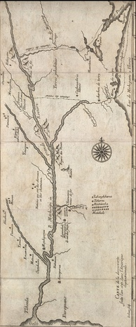 c. 1681 map of Marquette and Jolliet's 1673 expedition