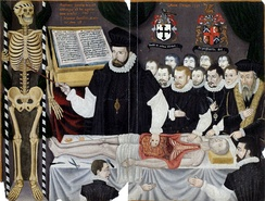 Master John Banister's Anatomical Tables, with Figures. The paintings comprise a portrait of Banister delivering a visceral lecture at the Barber-Surgeons' Hall, Monkwell Street, London. c. 1580