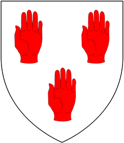 Canting arms[3] of Maynard of Sherford: Argent, three sinister hands couped at the wrist gules[4]
