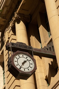 Clock on the former premises, Newspaper House, St Georges Terrace