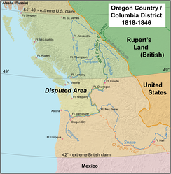 The Oregon Country/Columbia District stretched from 42'N to 54 40'N. The most heavily disputed portion is highlighted.