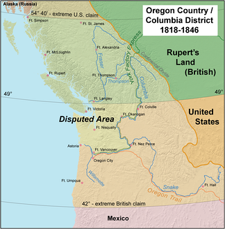 The Oregon Country/Columbia District stretched from 42°N to 54°40′N. The most heavily disputed portion is highlighted.