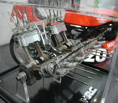 The 8 valve per cylinder, two connecting rod per piston, oval piston Honda NR engine.