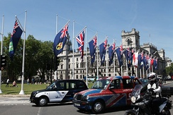 Overseas Territories flags in Parliament Square in 2013