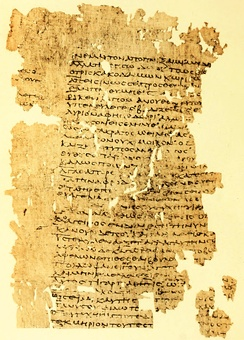 A papyrus fragment of the Perikeiromene 976–1008 (P. Oxy. 211 II 211, 1st or 2nd century AD).