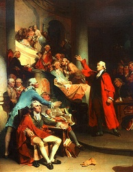 "Patrick Henry's ""Treason"" speech before the House of Burgesses in an 1851 painting by Peter F. Rothermel"