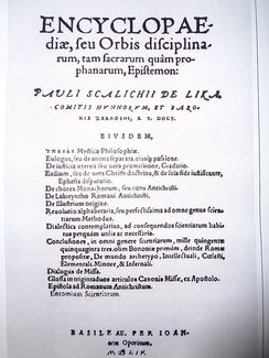 Title page of Skalich's Encyclopaedia, seu orbis disciplinarum, tam sacrarum quam prophanarum, epistemon from 1559, first clear use of the word encyclopaedia in the title.[14]