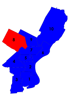 Philadelphia city council districts after the 1955 election (Democrats in blue, Republicans in red)