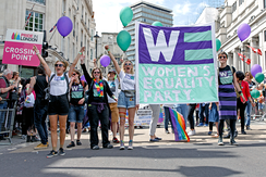 Members of the Women's Equality Party at Trafalgar Square during the Pride in London 2016 parade.