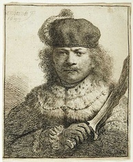 Rembrandt's self-portrait as an oriental potentate with a kris/keris, a Javanese blade weapon from the VOC era (etching, c. 1634). Also, he was one of the first known western printmakers to extensively use (the VOC-imported) Japanese paper. It's important to note that some major figures of Dutch Golden Age art like Rembrandt and Vermeer never went abroad during their lifetime. More than a pure for-profit corporation, the VOC was instrumental in 'bringing' the East (Orient) to the West (Occident),[275][276][277][178][278] and vice versa.[279][280][281][282]