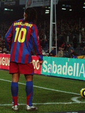 Brazilian star Ronaldinho wore number 10 during his tenure on Barcelona, then switching to number 80 when he was traded to Milan