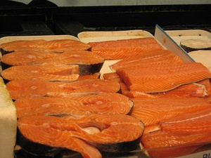 The meat of the salmon is also colored pink by the natural carotenoid pigment called astaxanthin.