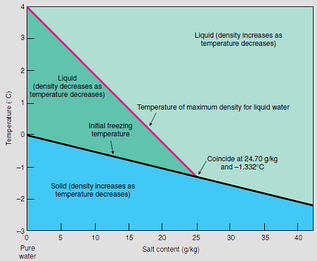 Diagram showing relation between temperature and salinity for sea water density maximum and sea water freezing temperature.