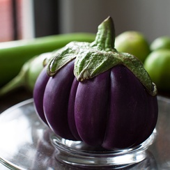 Segmented purple eggplant