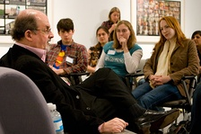 Author Salman Rushdie, Booker Prize-winning novelist, having a discussion with Emory University students