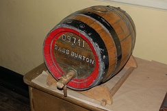 A small wooden barrel from the Bass Brewery, now in the Staffordshire County Museum at Shugborough Hall