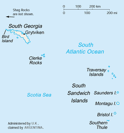 A map of South Georgia and the South Sandwich Islands