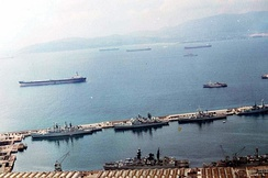 RN Ships docked on South Mole and Main Wharf - Gibraltar Harbour 1982