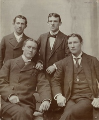 "Four of the star players of Hanlon's Orioles: ""Wee Willie"" Keeler, Joe Kelley, John McGraw, and Hughie Jennings, circa 1894"