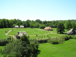 Partially reconstructed Fort Ancient settlement at SunWatch Indian Village
