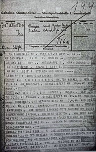 Telegram dated 8 April 1944 from KL Auschwitz reporting the escape of Rudolf Vrba and Alfréd Wetzler