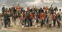 Various uniforms of the Canadian militia in 1898. The historical roots of the Canadian Armed Forces stems from the militia.