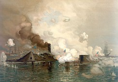 The first battle between ironclads: CSS Virginia/Merrimac (left) vs. USS Monitor, in 1862 at the Battle of Hampton Roads