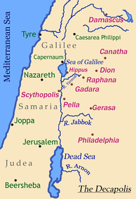 Map of the Decapolis showing the location of Gerasa (Jerash)