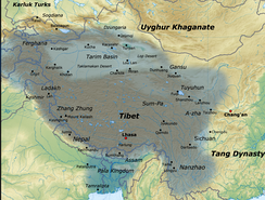 Map of Tibetan Empire citing the areas of Gilgit-Baltistan as part of its kingdom in 780–790 CE
