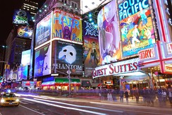 Times Square in New York City, the hub of the Broadway theater district[573]