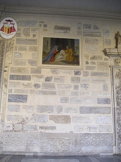 Re-used reliefs as decoration in Santa Maria in Trastevere, Rome