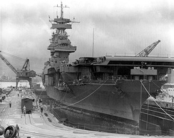 Yorktown in drydock at Pearl Harbor on 29 May 1942, shortly before departing for Midway