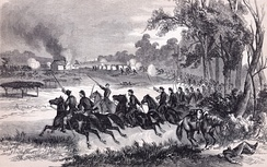 Union cavalry charge at Honey Springs, July 1863.