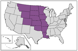 Map of current U.S. states that were completely or mostly inside the borders of old colonial French Louisiana at the time of Louisiana Purchase
