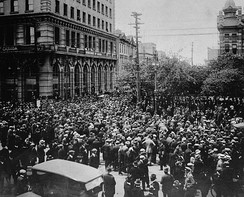 Crowd gathered outside old City Hall during the Winnipeg General Strike in 1919.