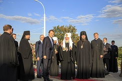 Former President of Transnistria Yevgeny Shevchuk and Sabbas, diocesan bishop of the Moldovan Orthodox Church
