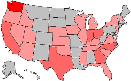 Change in state delegations      6+ Democratic gain    6+ Republican gain     3–5 Democratic gain    3–5 Republican gain     1–2 Democratic gain    1–2 Republican gain     no net change